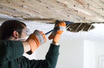 снятие покрытия потолка