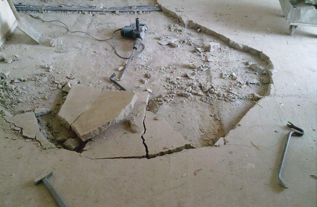 фото демонтажа наливного пола
